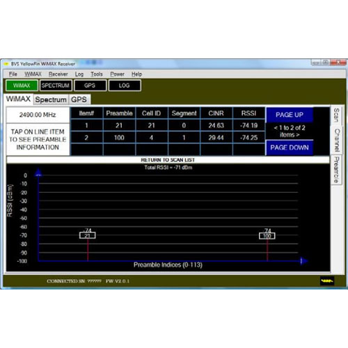 YellowFin Fixed WiMAX Analyzer PC Software- 4G Analysis and Drive Studies - G8LMW Consulting